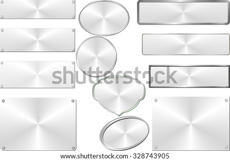 set of isolated silver plaques - stock vector
