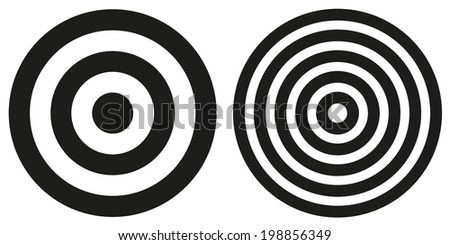 Set of 2 isolated simple black and white bullseye targets - stock vector