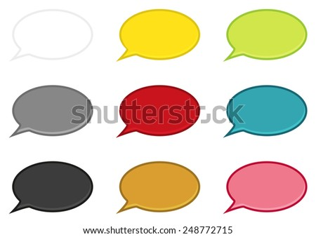 Set of 9 isolated speech bubbles in different colors - stock vector