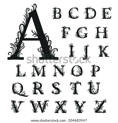 Set Of Isolated Stylized Calligraphic Illustrations Vector A B C D