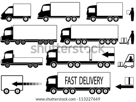set of isolated trucks icons with people silhouette and space for text - stock vector