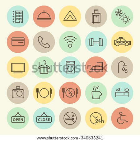 Set of Isolated Universal Minimal Simple Vintage Thin Line Hotel Icons on Circular Color Buttons. - stock vector
