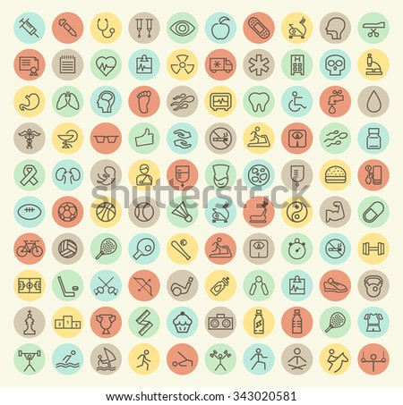 Set of 100 Isolated Universal Minimal Simple Vintage Thin Line Medical, Sport and Fitness Icons on Circular Color Buttons. - stock vector