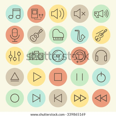 Set of Isolated Universal Minimal Simple Vintage Thin Line Music Icons on Circular Color Buttons. - stock vector