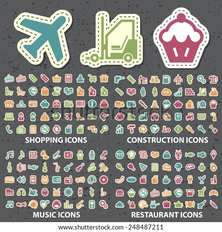 Set of 180 Isolated Universal Standard New Color Shopping, Construction, Music and Restaurant Icons Paper Cut Style on Black Background. - stock vector