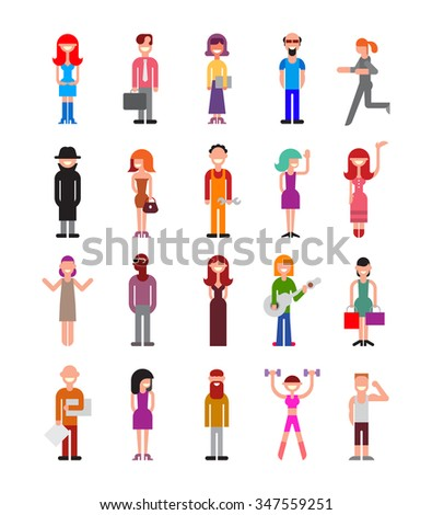 Set of isolated vector icons on white background. Collage of people with different professions.