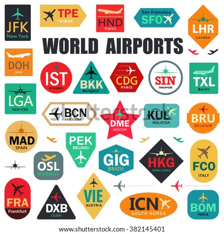 Set of Isolated Vector Tags with World Airport Codes. Mix of Airplane Labels. Vector Illustration for Travelers: Famous Airport Abbreviations on White - stock vector