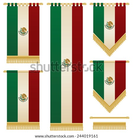 set of isolated vertical hanging mexican flag banners with gold fringing