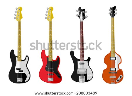 Set of isolated vintage bass guitars  Flat design. Vector illustration.