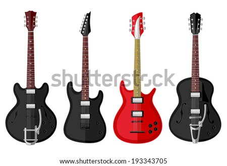 Set of isolated vintage guitars. Flat design. Vector illustration.