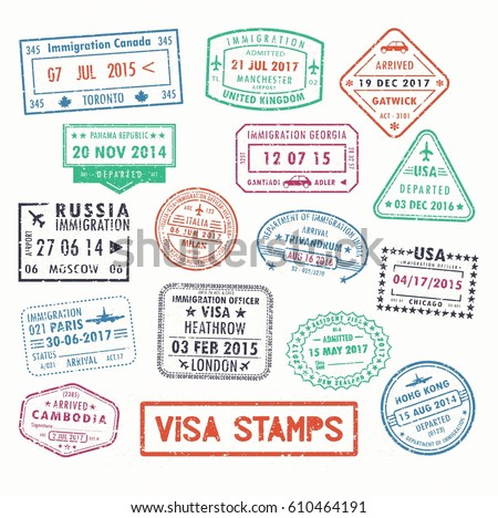 Set isolated visa passport stamps arriving stock vector 610464191 set of isolated visa passport stamps of arriving to toronto canada or united kingdom uk altavistaventures Choice Image
