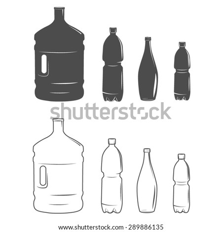 Set of isolated water bottle icon on white background - stock vector
