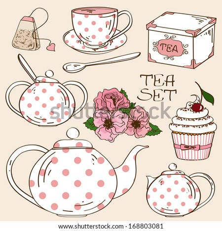 Set of isolated white pink polka dots tea service icons - stock vector