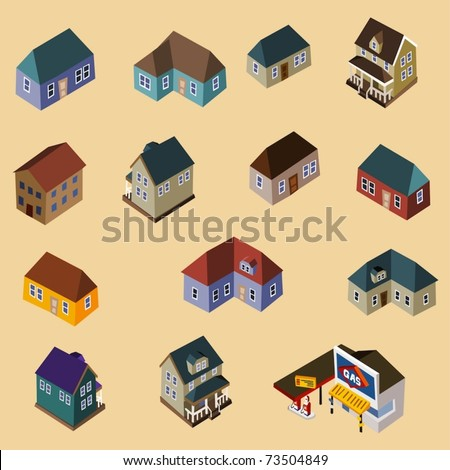 Set of Isometric Buildings and Houses. Compose your own city - stock vector
