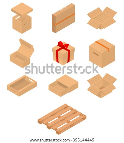 Set of isometric cardboard boxes to sent mail. Vector illustration isolated on white background. - stock vector