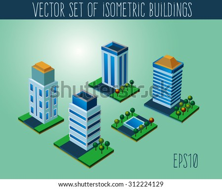 Set of isometric city buildings. Isometric icons collection
