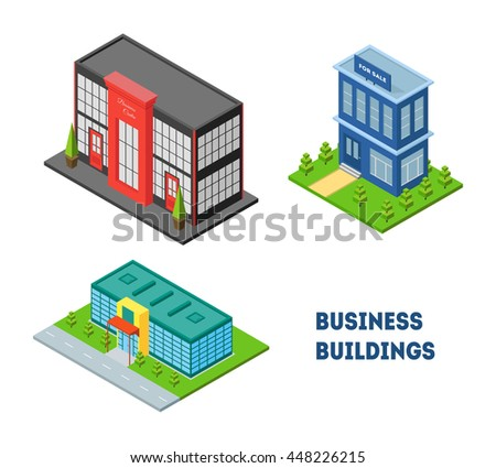 Set of isometric city buildings of business center, shop, real estate or mall. Three dimensional town constraction. Small business office. Infographic design element. Vector isolated illustration.