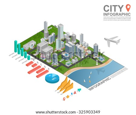 Set of isometric city infographic, vector - stock vector