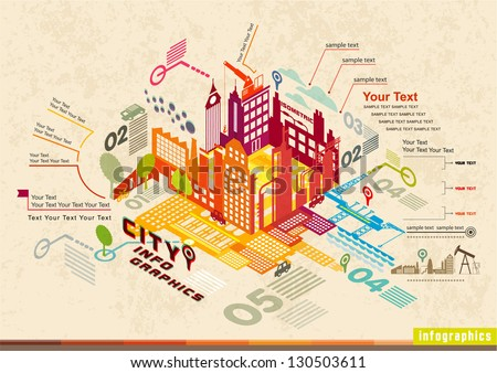 Set of isometric city social infographics, City of info graphics Graphics, illustrator Vector - stock vector