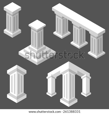 Set of isometric columns. - stock vector