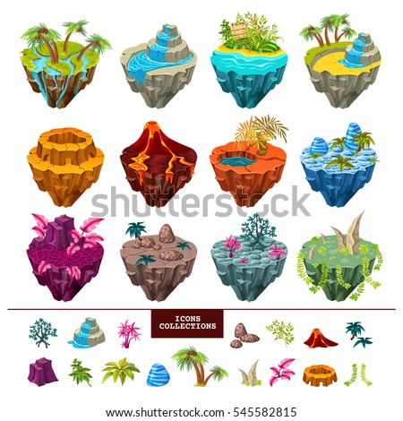 Set of isometric gaming islands with ground, trees and rivers, volcano landscape, waterfall and icons collection. Isolated vector illustration