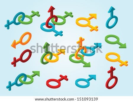 Set of isometric gender icons - stock vector