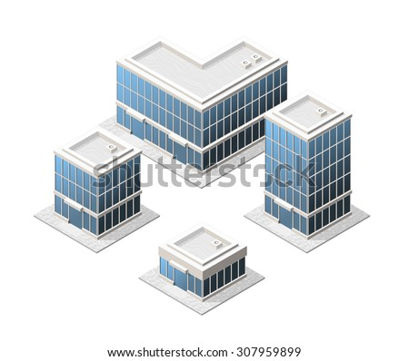 Set of 4 Isometric High Quality City Elements with 45 Degrees Shadows on White Background. Residential - stock vector