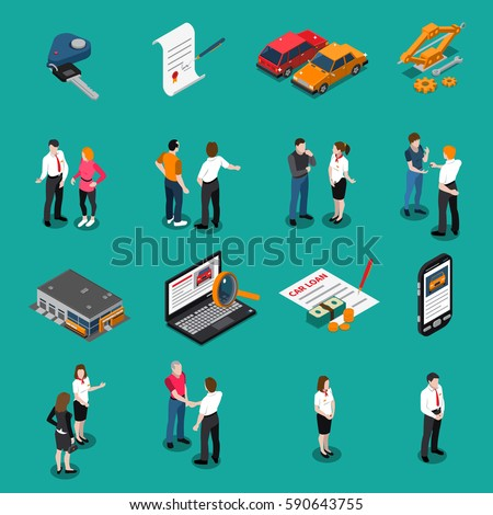 Set of isometric icons with car dealership customers and sellers computer search and purchase isolated vector illustration