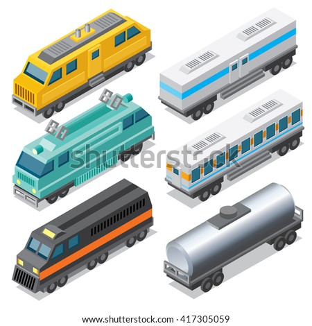 Set of Isometric Locomotives and Freight Car, Cistern and Passenger Coach. Vector Design. - stock vector