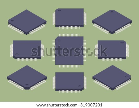 Set of isometric microchips. The objects are isolated against a green background and shown from different sides - stock vector