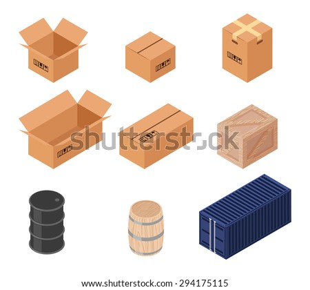 Set of isometric vector boxes. Cardboard illustration, wooden barrel and box, transportation and distribution, warehouse and container - stock vector