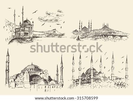 Set of Istanbul famous landmarks, Turkey, vintage engraved illustration, hand drawn - stock vector
