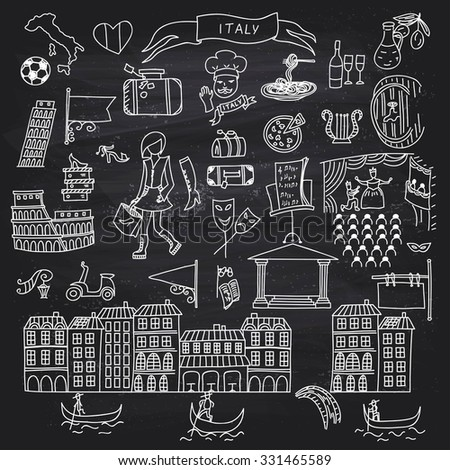 Set of Italy icons doodle on chalkboard. Hand drawn vector illustration.