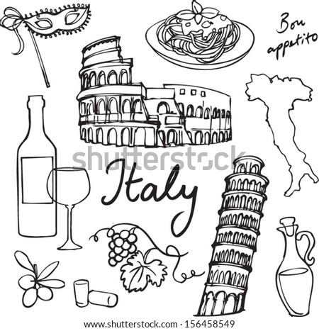 Set of Italy icons doodle vector illustration - stock vector