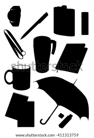 Set of 11 items aways. Vector black silhouette on white background. Cap, umbrella, pen, watch, notebook