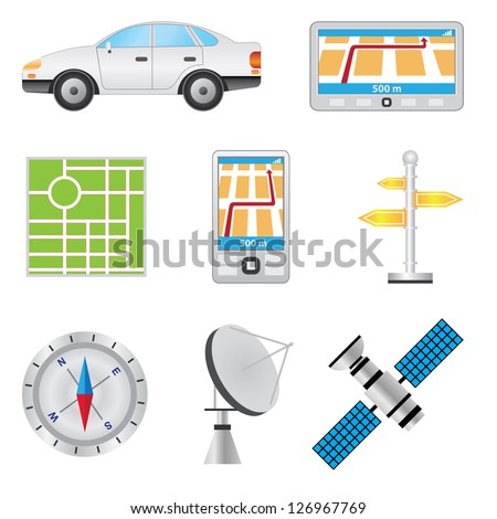 Set of items for navigation on the white background. - stock vector