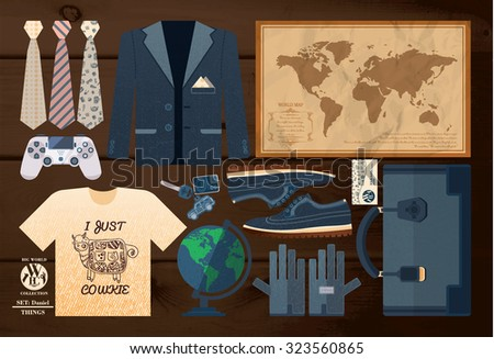 set of items for the school on the wooden table - stock vector