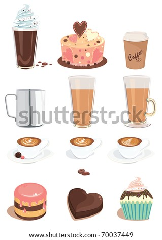 set of items on coffee and sweets theme - stock vector