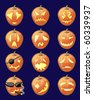 Set of jack-o-lanterns - 12 vector illustrations - stock vector