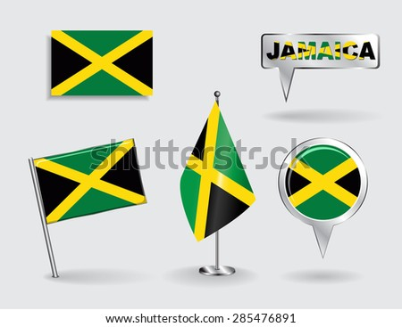 Set of Jamaican pin, icon and map pointer flags. Vector illustration. - stock vector