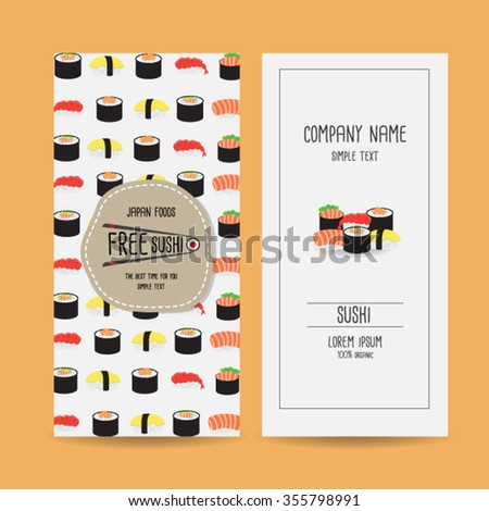 Set Japan Food Voucher Template Design Stock Vector