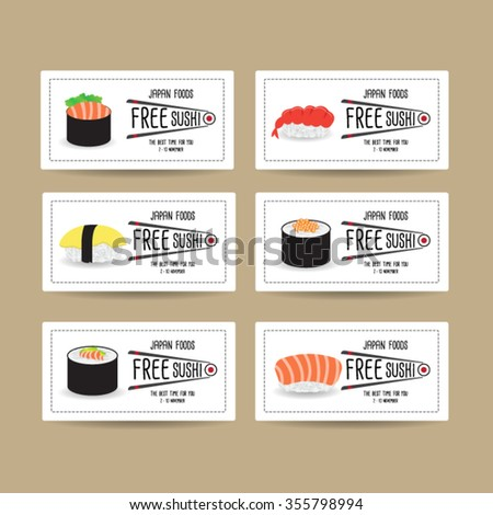 Set Japan Food Voucher Template Design Stock Vector Hd Royalty Free