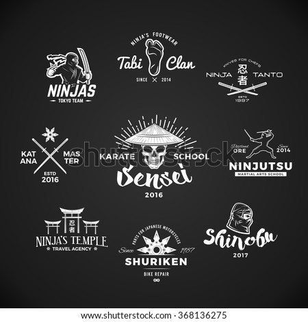 Set of Japan Ninjas Logo. Katana weapon insignia design. Vintage ninja mascot badge. Martial art Team t-shirt illustration concept