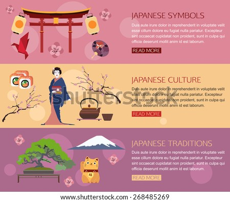 Set of Japan travel horizontal banners with place for text. Japanese symbols, Geisha, Traditions, Japanese culture. Set of colorful flat icons for your design. Vector illustration. - stock vector