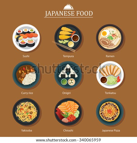 set of japanese food flat design - stock vector