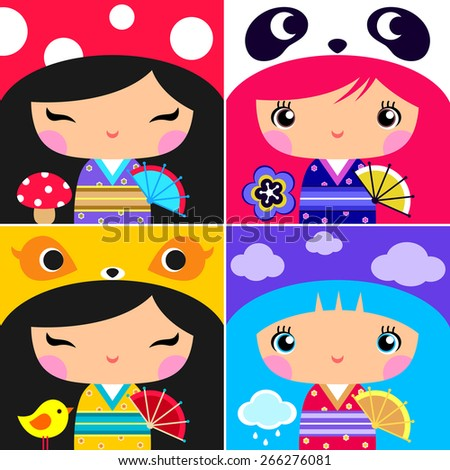 Set of Japanese Kokeshi Dolls   - stock vector