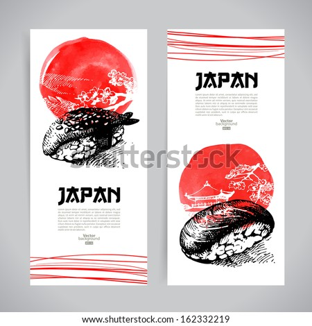 Set of Japanese sushi banners. Sketch illustrations for menu - stock vector