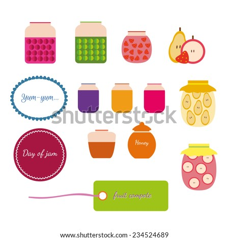Set of jars with jam, honey and compote, labels - stock vector