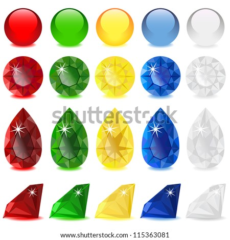 set of jeweler jewels and glass beads - stock vector