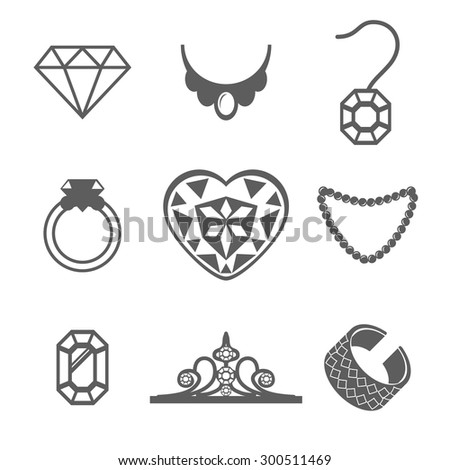 Set of Jewelry Icons ring gem necklace Vector illustration - stock vector